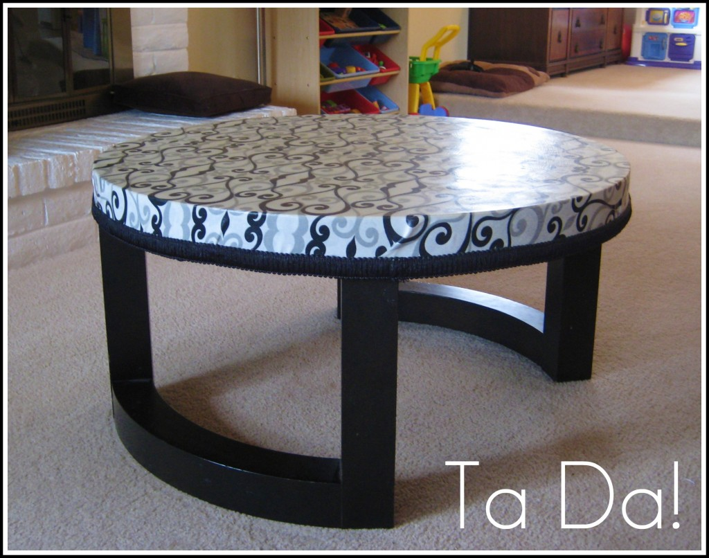 Coffee Table Upgrade with Mod Podge and Fabric