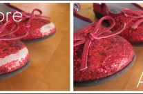Glitter Shoe Fix with Mod Podge